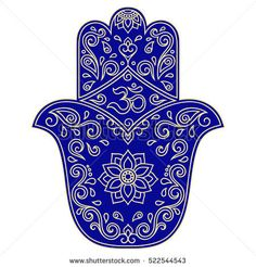 Color vector hamsa hand drawn symbol. OM symbol. Ancient oriental symbol, amulet protects from evil.