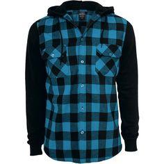 """Cansado de la típica camisa a cuadros? Pues tenemos algo perfecto para ti: La manga larga """"Hooded Checked Flannel"""" de Urban Classics no es solo una camisa a cuadros negros y turquesa si no una sudadera. Con capucha negra y ..."""