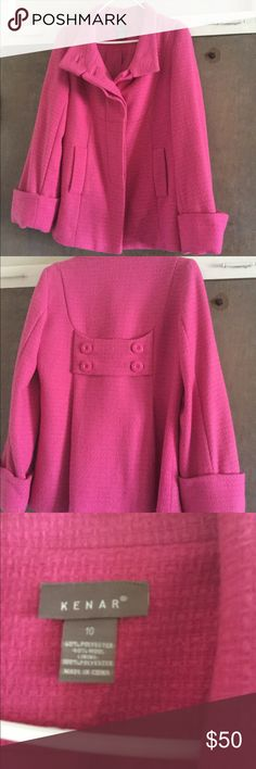 Pink jacket Short style peacoat bright pink, wool and poly blend, lightly worn. It actually doesn't look worn and my mom gave it to me as she no longer does winters. It is a generous size 10 and just too big for me. Kenar Jackets & Coats Pea Coats