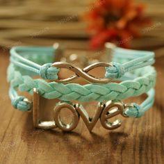 Infinity Bracelet  love bracelet  with infinity charm by 39boxes, $7.99   So pretty