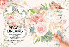 Watercolor Peach Dreams design by designloverstudio on @creativemarket