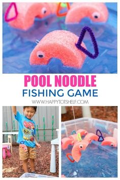 Fun DIY Fishing Game with Pool Noodle DIY pool noodle fishing game for kids!DIY pool noodle fishing game for kids! Fishing Games For Kids, Water Games For Kids, Camping Games For Kids, Fishing Party Games, Outside Games For Kids, Outdoor Activities For Kids, Outdoor Kids Parties, Pool Games Kids, Ocean Games