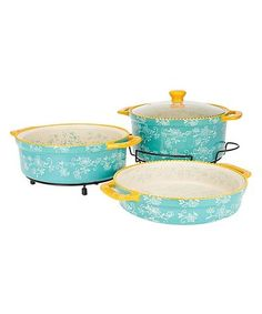 Look what I found on #zulily! Teal Floral Lace Cook & Look Round Baker Set #zulilyfinds