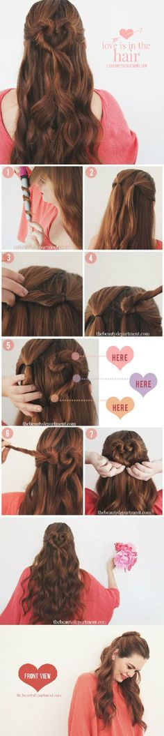 hair tutorial - THE HEART BUN http://www.pinterest.com/ahaishopping/ Heart Braid, First Date Hair, First Date Makeup, Oktoberfest Hair, Heart Hairstyles, Date Hairstyles, Braided Hairstyles, Hairstyles 2018, Easy Wedding Hairstyles