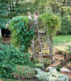 """When y'all move here I think this is where we should read The Secret Garden w/ Caroline ( w/ tea and fancy hats, of course) Children's garden """"nest"""" Tower Garden, Garden Art, Kid Garden, Family Garden, Plant Tower, Garden Nook, Balcony Garden, Farm Gardens, Outdoor Gardens"""