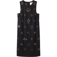 3.1 Phillip Lim All Eyes On You Embroidered Dress (18 695 UAH) ❤ liked on Polyvore featuring dresses, vestidos, tops, платья, black embroidered dress, embroidered dress, chiffon dress, sleeveless dress i a line dress