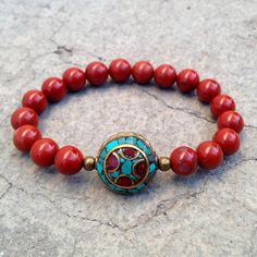 Red jasper and Tibetan guru bead bracelet by #lovepray #jewelry