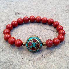 Red jasper and Tibetan guru bead bracelet by #lovepray #jewelry