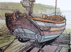 'Prosperity' - Coble at Flamborough Head. 10 colour reduction print. Mike Smith.