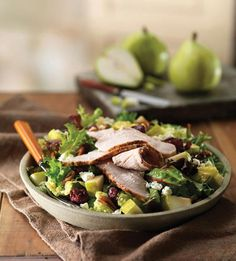 Panera Bread Roasted Turkey Harvest Salad - All-natural roasted turkey, a mix of romaine and field greens, fresh d'Anjou pears, dried cherries, Gorgonzola cheese and toasted pecans tossed in cherry balsamic vinaigrette.