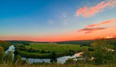 red sunset in hilly banks For Desktop