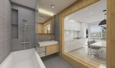 Design (visualization) of the bathroom with the window to the kitchen. Interior Modern, Interior Design, Bad Inspiration, Bathroom Inspiration, Bratislava, Healthy Living Magazine, Concrete Wall, Inspirational Videos, Planer