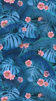 Seamless background of tropical leaves in blue Vector Image , Pretty Backgrounds, Aesthetic Backgrounds, Aesthetic Iphone Wallpaper, Phone Backgrounds, Aesthetic Wallpapers, Wallpaper Backgrounds, Flowery Wallpaper, Pastel Wallpaper, Tumblr Wallpaper