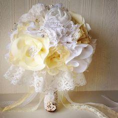 Fabric flower bridal bouquet, Vintage inspired weddings, Handmade bride bouquet, Cotton chiffon & lace bouquet. £150.00, via Etsy.