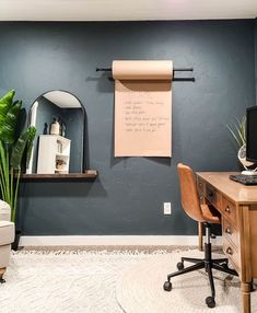 Looking for an alternative to a white board? Then you're gonna love this wall mounted Kraft paper dispenser tutorial! This Kraft paper has so many functions and was the finishing touch to our renovated home office! #Kraft #paper #wall Wall Decor Crafts, Home Decor, Office Wall Organization, Black Curtain Rods, Paper Roll Holders, Recycled Wood, Kraft Paper, Room, Manzanita