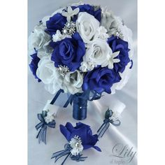 Bride's round bouquet - Left to right: Others boutonniere, corsage, groom's boutonniere