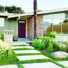 I like the concrete stones...very modern landscaping idea