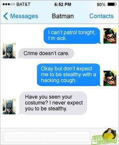 Marvel Jokes, Marvel Funny, Marvel Dc Comics, Funny Batman, Web Comic, Comic Text, Superhero Texts, Texts From Superheroes, Tim Drake