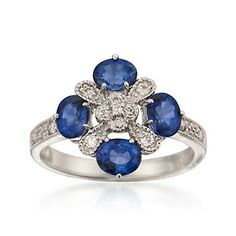 1.50 ct. t.w. Sapphire and .20 ct. t.w. Diamond Ring in 14kt White Gold