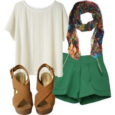 White blouse, kelly green shorts, floral scarf, tan wedge sandals