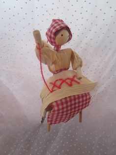 Vintage Sewing Cornhusk Doll Flower Pick or by MendozamVintage, $2.50