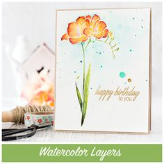 "Layers of watercolor to bring this gorgeous #Altenew ""Fresh Freesia"" to life | Watercolor: KURETAKE GANSAI TAMBI | #Debby_Hughes [on wc 2 + favs]"