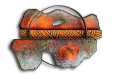 "Montserrat Lacomba, Brooch ""Landscape with a Hole"" 6.5 x 9 x 1.5 cm Enameled copper and silver."