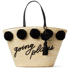 Women's Kate Spade New York Lewis Way Pompom Tote ($298) ❤ liked on Polyvore featuring bags, handbags, tote bags, black, tassel handbags, straw handbags, straw tote handbags, cocktail purse and kate spade purses