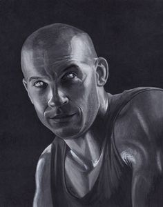 Vin Diesel as Riddick. Artwork done with Copic markers and black and white ink pens.