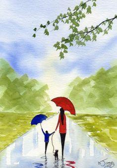 Watercolour Painting ~ By KJ CARR ~ Rainy Day Walkies! Mum & Me!
