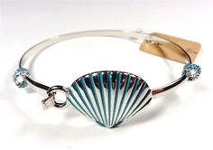 BEACH FASHION RHODIUM NAUTICAL SIL AQUA BEACH SEA SHELL SEA LIFE BANGLE BRACELET