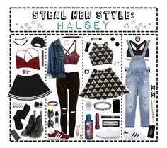 """""""- ̗̀ Steal Her Style: Halsey ̖́-"""" by i-get-a-little-bit-breathless ❤ liked on Polyvore featuring Dr. Martens, Prada, Calvin Klein Underwear, Zara, Wet Seal, Bobbi Brown Cosmetics, H&M, Simply Vera, ASOS and Charlotte Russe"""