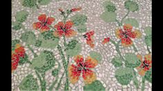 Mosaic -Nasturtiums on glass tabletop made by Nicole White