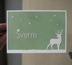 Letterpress geboortekaartje, sterren, vogel, hert.