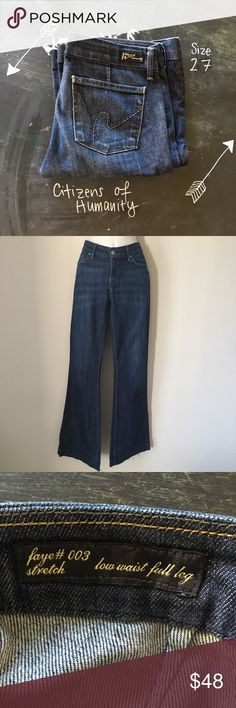 Citizens of Humanity Faye low waist full leg jeans Citizens of Humanity Faye #003 stretch low waist full trouser leg jeans. Size 27. Cuffs are damaged/frayed (see photo). Pants are in otherwise excellent condition. Note: stock photo is example of cut style, not necessarily color. Measurements in photos. Love the jeans but not the price? I'm always open to offers! Citizens Of Humanity Jeans Flare & Wide Leg