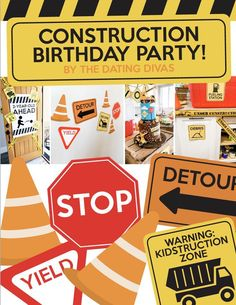 Get your hard hat ready and dump everything that you're doing, this construction themed party pack has everything your little one will need to have the birthday party of their dreams, no detours needed. Happy Birthday Banners, Birthday Party Themes, Birthday Ideas, Creative Date Night Ideas, Construction Signs, Holiday Dates, Birthday Traditions, Construction Birthday Parties, Dating Divas