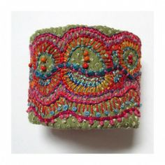 ♒ Enchanting Embroidery ♒ Hand Embroidered Multi-Colored Organic Shapes Cuff by MadrigalEmbroidery on Etsy Beaded Embroidery, Embroidery Stitches, Hand Embroidery, Textile Jewelry, Fabric Jewelry, Jewellery, Fabric Bracelets, Fibre And Fabric, Textiles