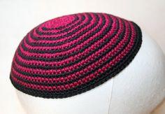 kippah burgund and dark grey by crochetkippah on Etsy,
