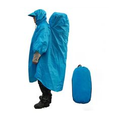 Tera One Piece Raincoat Cape Backpack Cover for Outdoor Hiking Travel Camping Blue * Click image to review more details.
