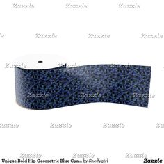 Unique Bold Hip Geometric Blue Cyan Gray Black Grosgrain Ribbon #zazzle #grosgrain #ribbon #gift #geometric #pattern #trendy #modern #abstract #sold #sale #shelleyneffphotography