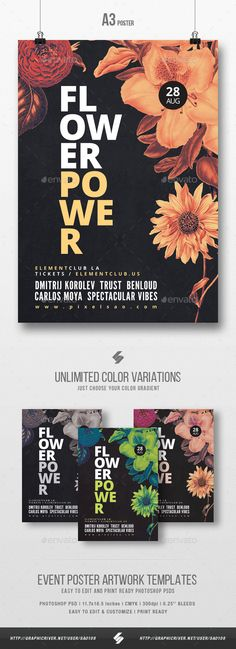 Flower Power - Party Poster / Flyer Artwork Template A3 - Clubs & Parties Events
