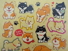 Kawaii Japanese Shiba Inu kraft paper sticker flakes - cute black dogs - brown puppy - paw print - dog emoticon face stickers - dog butt by 2FooDogs on Etsy https://www.etsy.com/listing/235899265/kawaii-japanese-shiba-inu-kraft-paper