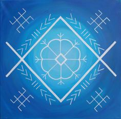 Traditional Latvian folk symbols on blue. Acrylic on canvas, 40x40cm. By Brigita Ektermane.