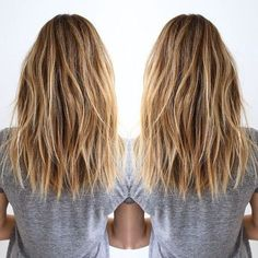 Layered, Brown, Blonde Balayage - Shoulder Length Hairstyle for Thick Hair 2017