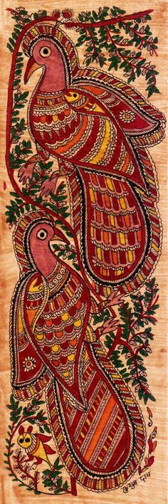 Madhubani or Mithila Paintings are said to have originated during the period of Ramayana, when King Janaka commissioned artists to do paintings during the wedding of his daughter, Sita to Lord Ram. The paintings usually depicted nature and Hindu religious motifs, the themes generally revolve around Hindu deities.http://handicrafts.exoticabazaar.com/view/4833-7-bird108.html