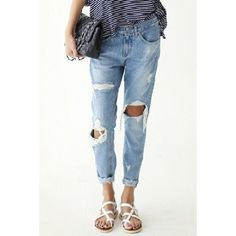 Wholesale Street Style Broken Hole Ninth-Length Slimming Jeans For Women Only $8.64 Drop Shipping | TrendsGal.com