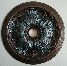 Елегантний Ручна розпис Turquoise Мідь Стеля Медальйон Люстра Декор стіни 20…