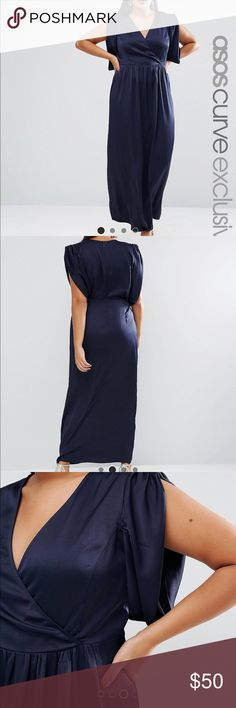 NWT Asos Curve Red Carpet Satin Maxi Dress 24 Brand new and beautiful!! Smoke feee home. US size 24. Navy color. ASOS Curve Dresses