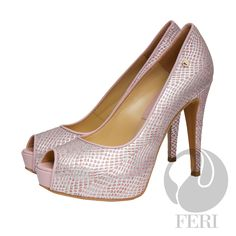 "FERI - DAPHNE - SHOES - Baby Pink Print  - Snake skin printed napa leather pump with stiletto heel - Napa leather sole and insole - Colour: Soft silver/pink - FERI logo hardware on sole and outside of heel - Heel height: 4.75"" with a platform 1.08""  Invest with confidence in FERI Designer Lines. www.gwtcorp.com/ghem or email fashionforghem.com for big discount"