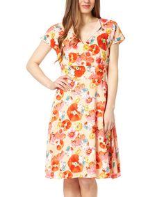 Loving this Orange Floral Amalfi A-Line Dress on #zulily! #zulilyfinds